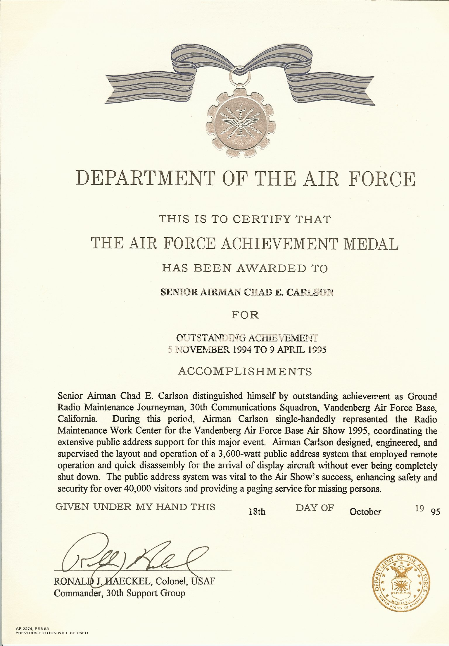 Air force award examples pictures to pin on pinterest for Air force decoration examples