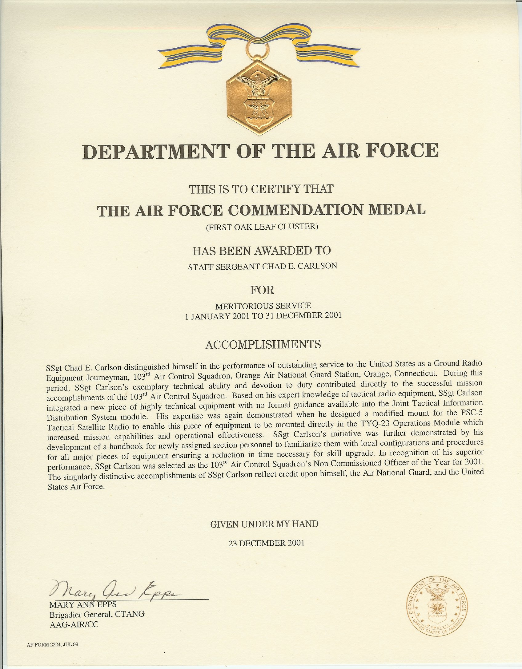 About for Air force decoration citation
